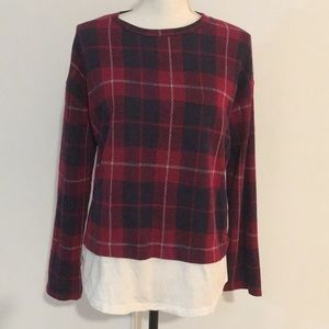 ZARA RED PLAID TOP SIZE SMALL